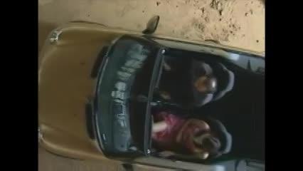 走行中のオープンカーで露出婬女にフェラチオさせる